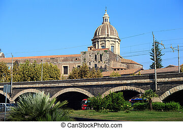 Catania, Sicily - View of the Dome of the cathedral in...