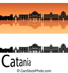 Catania skyline in orange background in editable vector file