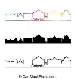 Catania skyline linear style with rainbow in editable vector...