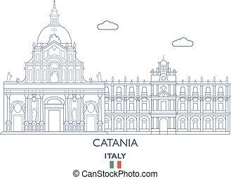catania, város égvonal, olaszország