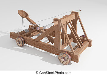 3d rendering of an old wood catapult