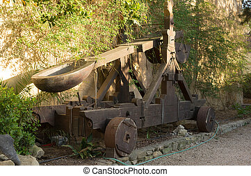 Medieval catapult. The reconstruction of this weapon is kept in the castle of Sanluri