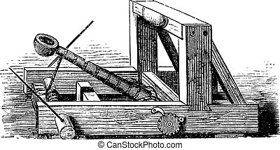 Catapult or Slingshot vintage engraving. Old engraved illustration of a wooden trebuchet catapult.