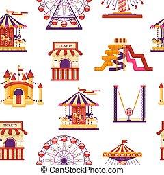 catapulte, attractions., roue, famille, parc, modèle, gonflable, trampoline, kiosque, isolé, bonbons, seamless, ferris, fond, mobile, waterslides, ballons, blanc, carrousels, amusement, château