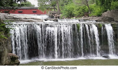 Cataract Covered Bridge and Waterfall Loop - Water plunges...