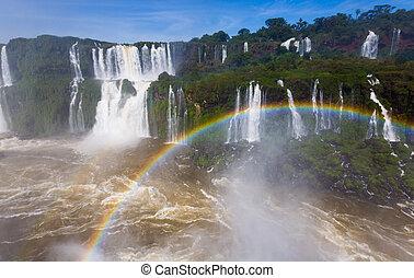 cataratas, ブラジル, 上に, 虹, 滝, del, iguazu