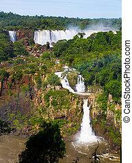cataratas, 川, iguazu, ブラジル, 滝, del