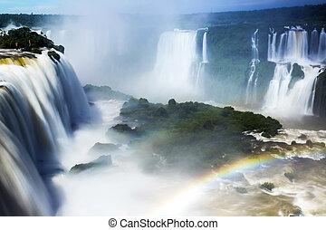 cataratas, del, iguazu, ブラジル, 滝, 川