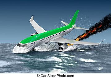 Catastrophe - Crash of Passenger plane . 3D illustration.  My own plane design.