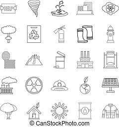 Catastrophic event icons set, outline style