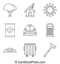 Catastrophic icons set, outline style - Catastrophic icons...