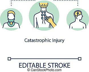Catastrophic injury, spinal trauma concept icon. Anatomical ...
