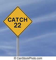 Catch 22 Ahead  - A modified road sign indicating Catch 22