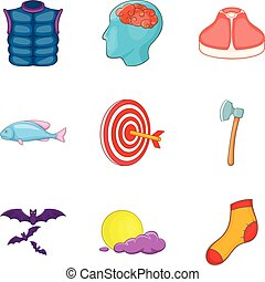 Catch icons set, cartoon style
