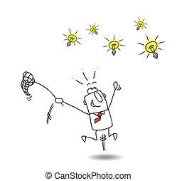 Catch ideas - A businessman runs after light bulbs. It's a ...