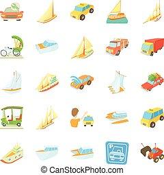 Catch the car icons set, cartoon style
