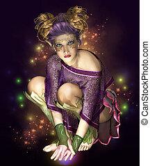 Catch the Light! - a little fairy with golden headdress ...