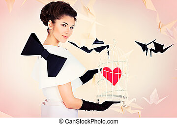 catch the love - Art fashion photo of a gorgeous woman in...
