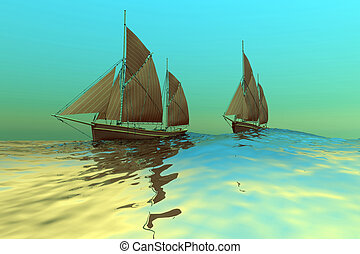 CATCH THE WIND - Two ships sail on a glassy sea.