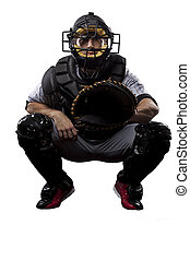 Catcher Baseball Player, on a white background.