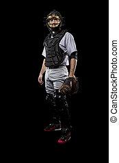 Catcher Player - Baseball Player, catcher, on a black ...