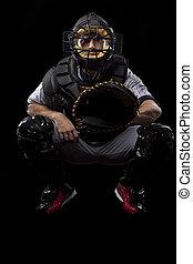 Catcher Player - Baseball Player, catcher waiting a ball, on...