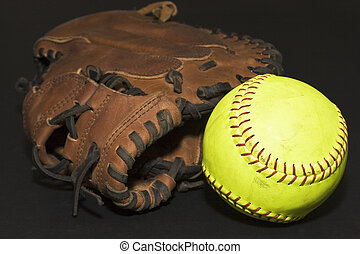 Catcher's Glove and Softball - Catcher's glove with loose ...