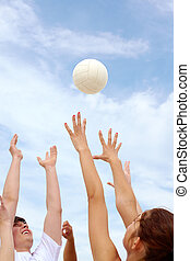 Catching ball - Photo of teenage friends playing with ball...