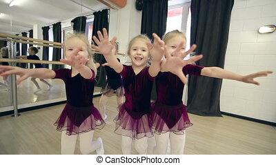 Catching Camera - Five little ballerinas approaching camera...