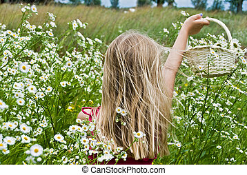 Catching Daisies - Young girl with a basket of wild daisies.