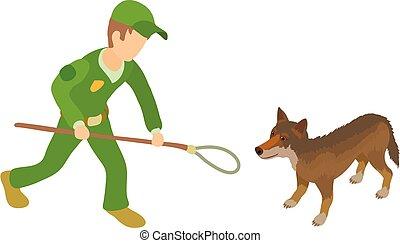 Catching dog icon, isometric style