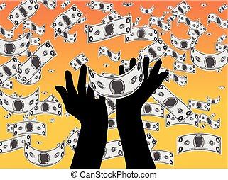 Catching Falling Money - An illustration of hands catching...
