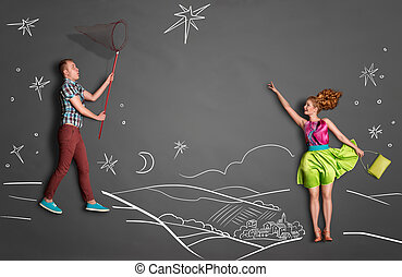 Catching stars. - Happy valentines love story concept of a...