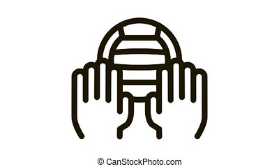 Catching Volleyball Ball Icon Animation. black Catching Volleyball Ball animated icon on white background