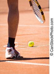 catchs, δικός του , τένιs , πάνω , φίλαθλος , μπάλα , δικτυωτό διά το κτύπημα σφαίρας τέννις