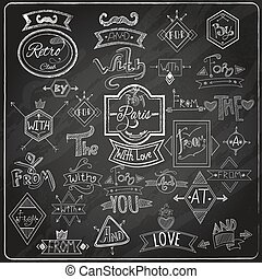 Chalk written prepositions catchwords signs collection with paris romantic heart love emblem composition blackboard abstract vector illustration