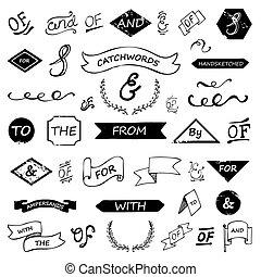catchwords, lettered, ampersands, hand