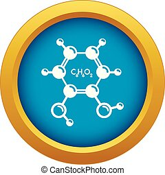 Catechol molecule icon blue vector isolated