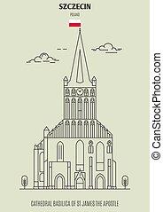 catedral, apóstol, señal, basílica, szczecin, james, icono, ...