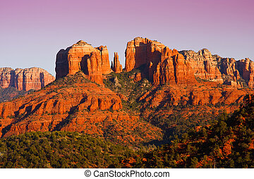catedral, arizona., sedona, ocaso, roca