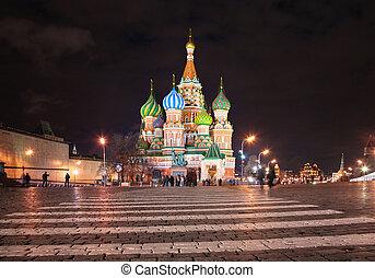 catedral, basil\'s, s., moscú, noche