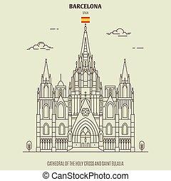 catedral, cruz, spain., barcelona, santo, señal, eulalia, ...