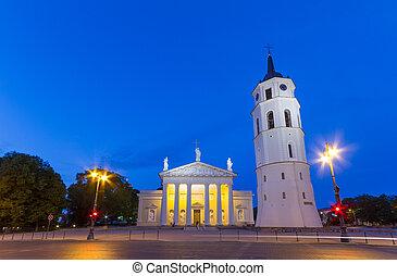 catedral, cuadrado, en, vilnius, lituania