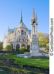 catedral dama notre, en, parís francia