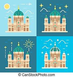 catedral, dom, diseño, plano, berliner