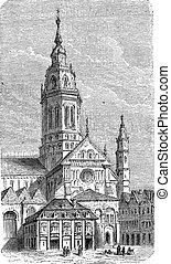 catedral, engraving., vendimia, mainz