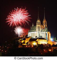 catedral, fuegos artificiales, gótico, medieval, sobre