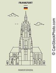 catedral, germany., fráncfort, fráncfort, señal, icono