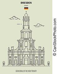 catedral, germany., santo, dresden, señal, icono, trinidad
