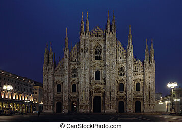 catedral, milan, tiro, noche